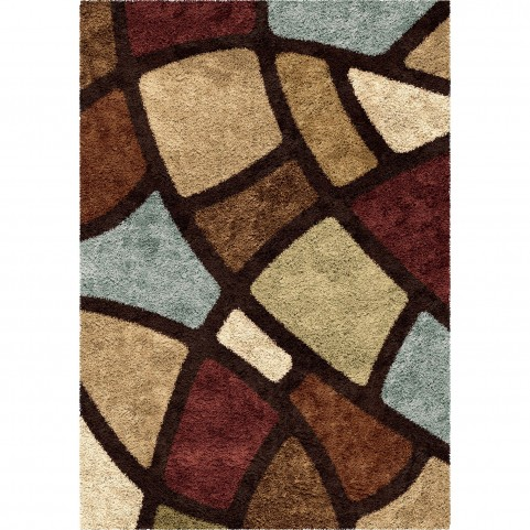 Circle Bloom Multi Brown Large Rug