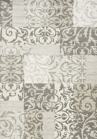 Intrigue Cream and Grey Damask Patchwork Large Rug