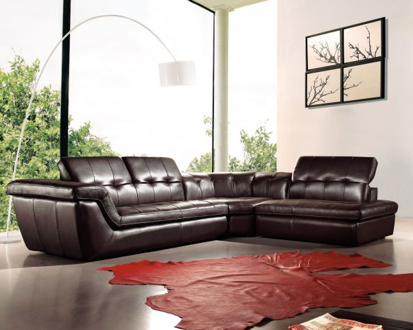 397 Chocolate Italian Leather RAF Sectional