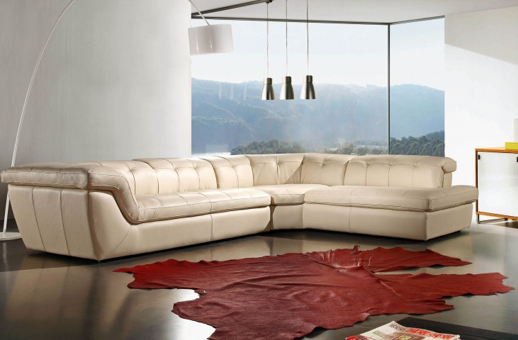 397 Beige Italian Leather RAF Sectional