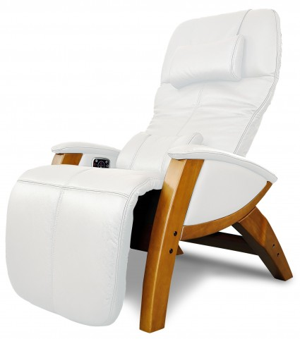 Svago Ivory Leather Benessere Chair With Honey Wood Legs
