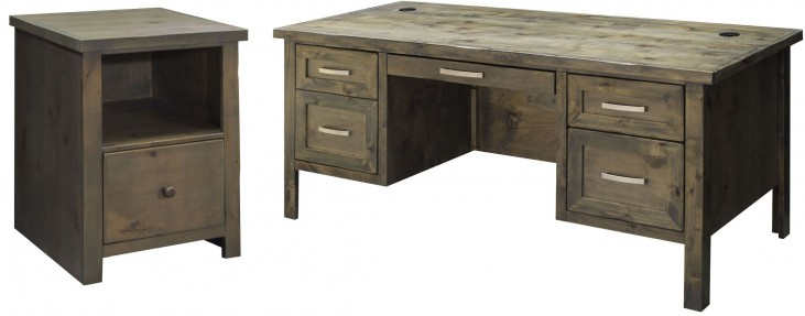 Joshua Creek Barnwood Home Office with Executive Desk