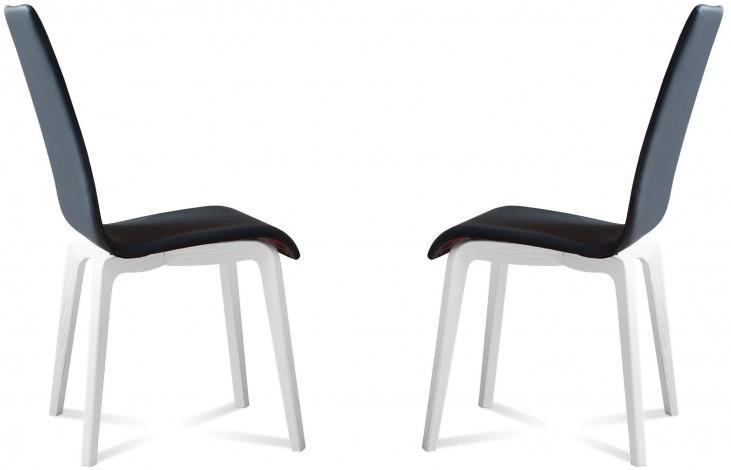 Jill Skill Black White Mat Lacquered Frame Ashwood Chair Set of 2