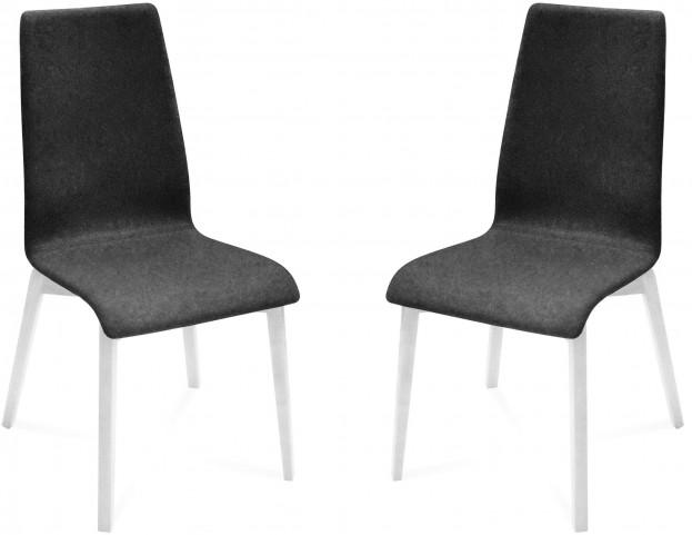 Jill Nordwool Dark Grey White Mat Lacquered Frame Ashwood Chair Set of 2