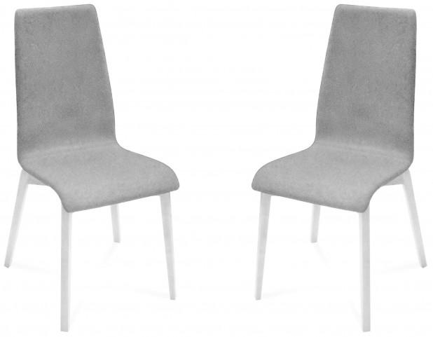 Jill Nordwool Light Grey White Mat Lacquered Frame Ashwood Chair Set of 2