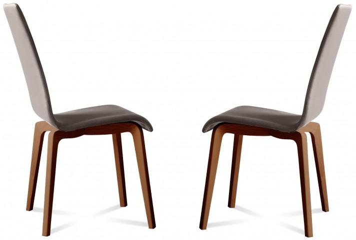 Jill Skill Taupe Walnut Frame Ashwood Chair Set of 2