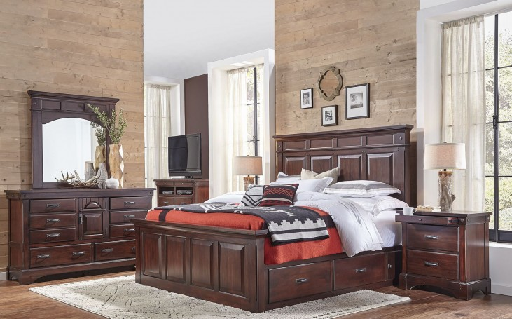 Kalispell Rustic Mahogany Storage Bedroom Set