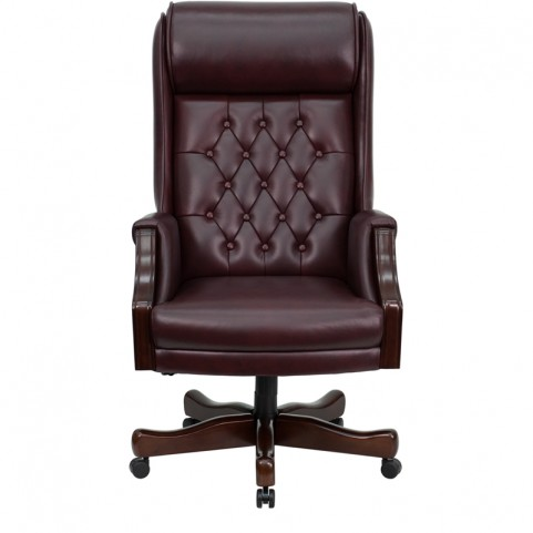 High back Traditional Tufted Burgundy Executive Office Chair