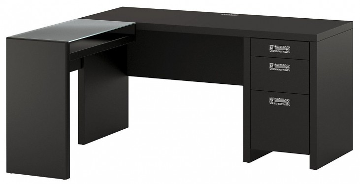 "New York Skyline Modern Mocha 60"" L-Desk with Glass Return"