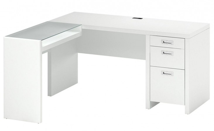 "New York Skyline Plumeria White 60"" L-Desk with Glass Return"