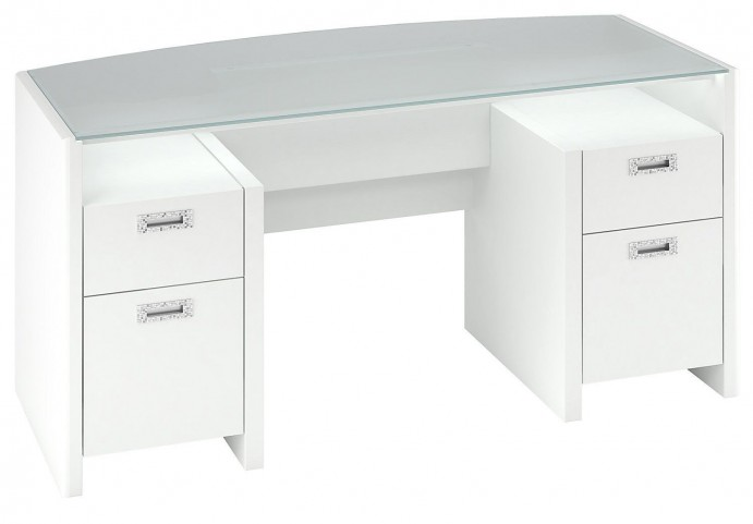 "New York Skyline Plumeria White 63"" Glass Double Pedestal Desk"