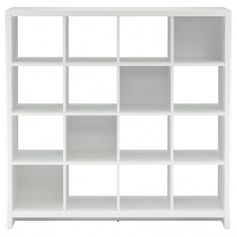 New York Skyline Plumeria White 16-Cube Bookcase / Room Divider