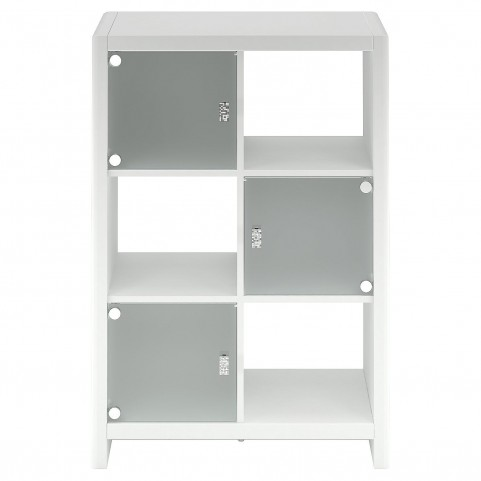 New York Skyline Plumeria White 6-Cube Bookcase with Three Glass Doors
