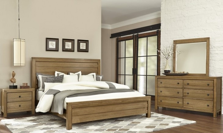 Kismet Rustic Maple Planked Bedroom Set