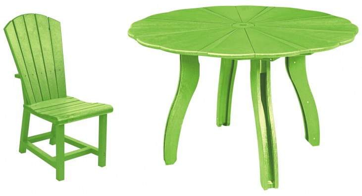 "Generations Kiwi Lime 52"" Scalloped Round Dining Room Set"