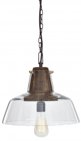 Hajar Clear/Brown Glass Pendant Light