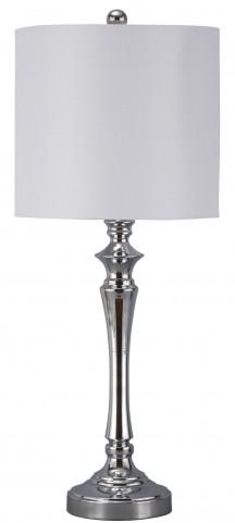 Taji Chrome Finish Metal Table Lamp Set of 2