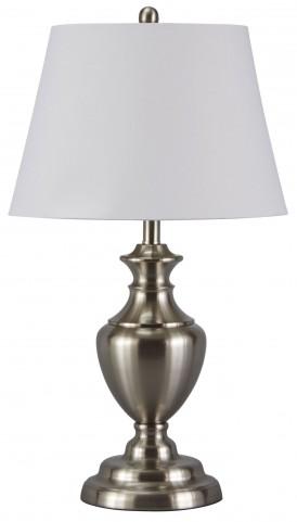 Takoda Brushed Silver Finish Metal Table Lamp Set of 2