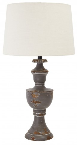 Aged Gray Wood Table Lamp