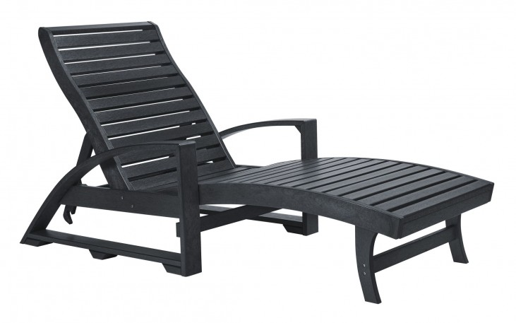 St. Tropez Black Chaise Lounge with Wheels
