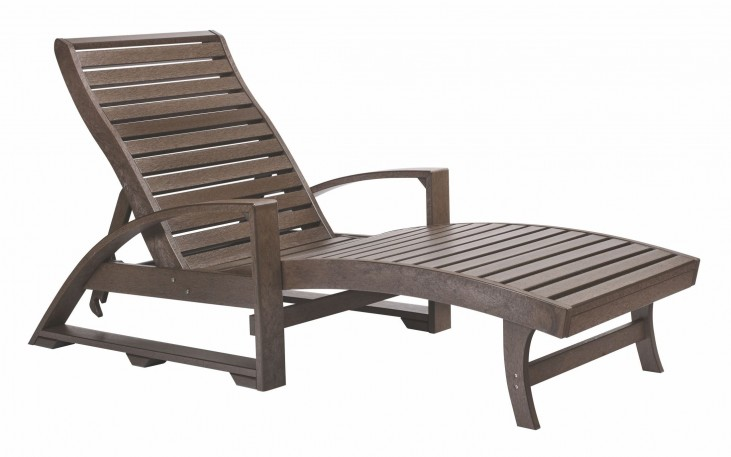 St. Tropez Chocolate Chaise Lounge with Wheels