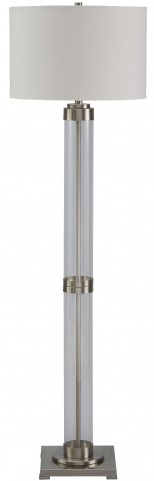 Talar Brushed Silver Glass Floor Lamp