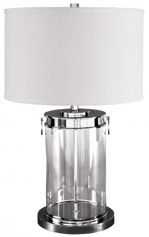 Tailynn Silver Glass Table Lamp