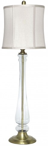 Ardice Clear and Brass Glass Table Lamp