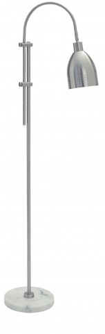 Asabi Silver and Marble Metal Floor Lamp