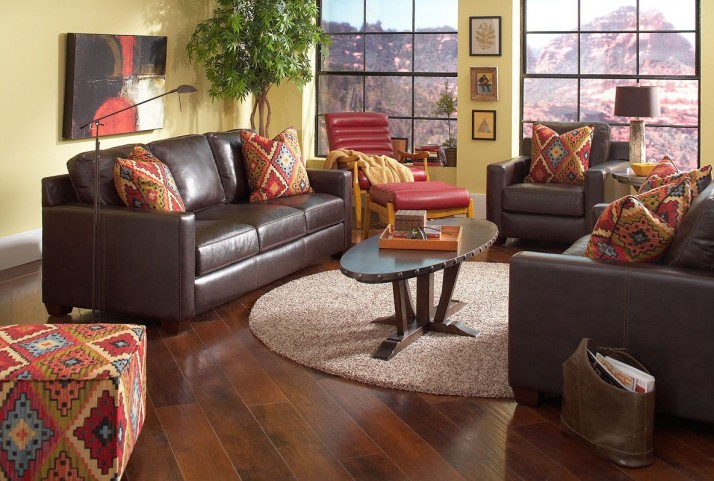 Adobe Akron Brown and Adobe Multi Living Room Set