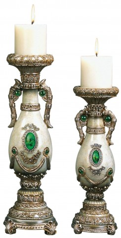 Gabriela Emerald Stone Candle Holder Set Set of 4