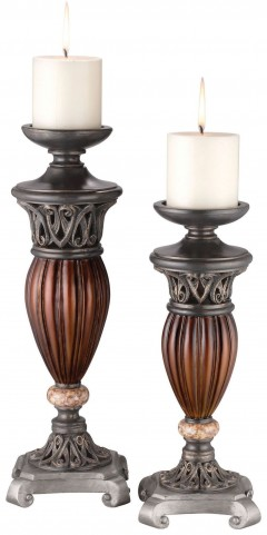 Luna Glossy Brown Candle Holder Set of 4