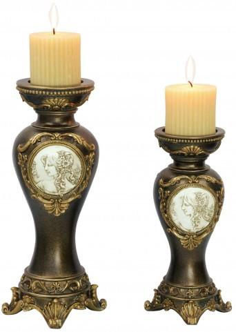 Sophia Golden Trims Candle Holder Set of 4