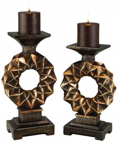 Mabel Copper Bronze Candle Holder Set Set of 4