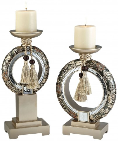Farrah Mirror Strips Candle Holder Set of 2