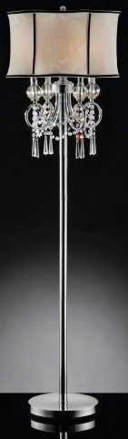 Juliana Polished Chrome Hanging Crystal Floor Lamp