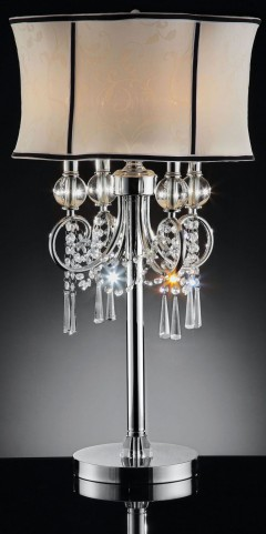 Juliana Polished Chrome  Hanging Crystal Table Lamp