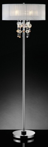 Lucille White Hanging Crystal Floor Lamp
