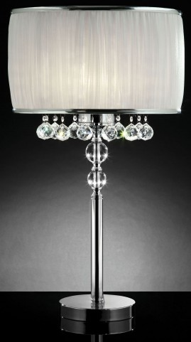 Chloe White Hanging Crystal Table Lamp