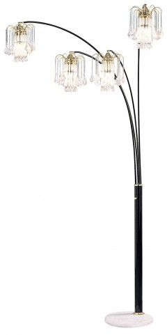 "Elouise Black and Gold 91"" Arch Lamp"