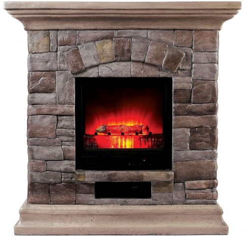 Juna Large Portable Faux Stone Fireplace With Heat & Light