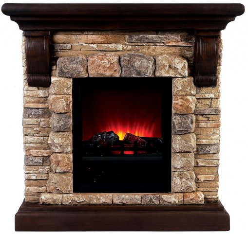 Vesti Large Portable Brown Faux Stone Fireplace With Heat & Light