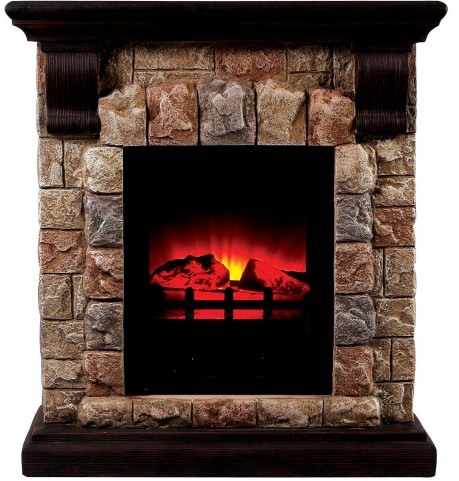 Vesti Small Portable Faux Stone Fireplace With Heat & Light