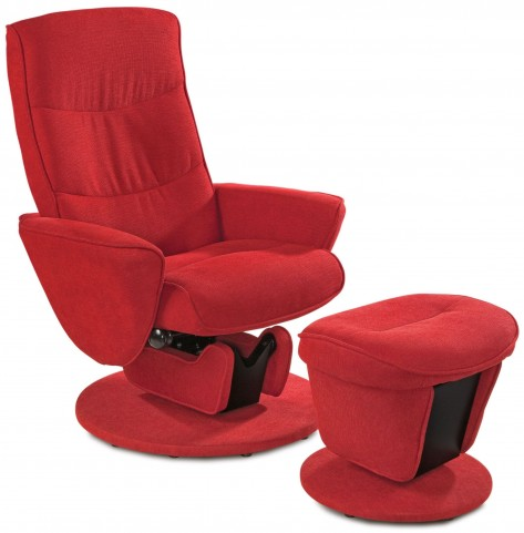 Relax-r Tomato Red Fabric Swivel Glider Recliner with Ottoman