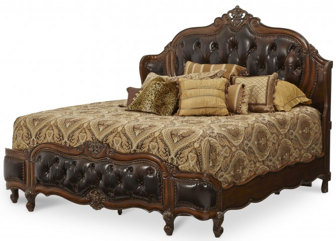 Lavelle Melange Queen Leather Mansion Bed