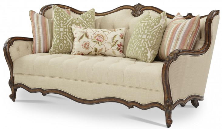 Lavelle Melange Wood Trim Tufted Sofa