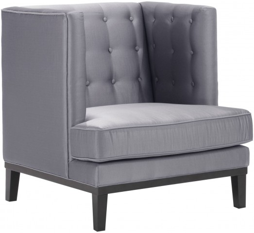 Noho Silver Satin Fabric Arm Chair