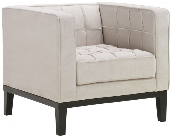 Roxbury Tufted Cream Fabric Arm Chair