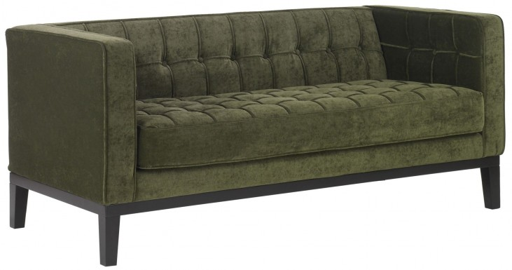 Roxbury Tufted Green Fabric Loveseat