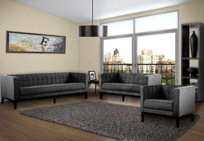 Roxbury Charcoal Fabric Living Room Set